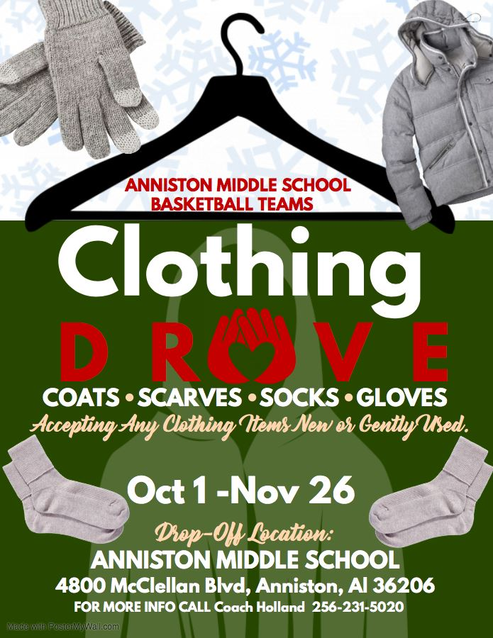 Please support the AMS Basketball Teams clothing drive