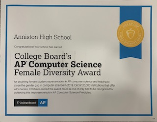 AP Computer Science Female Diversity Award